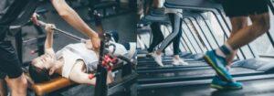 ベンチプレスをする女性とランニングをする男性